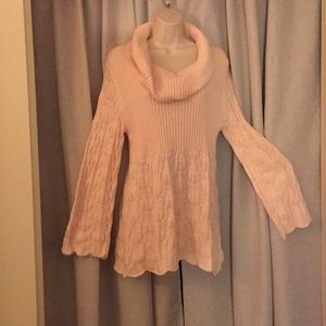 Pink cowl neck tunic sweater